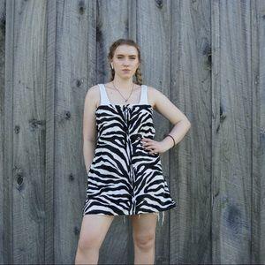 Handmade zebra strapless tube dress mini xl